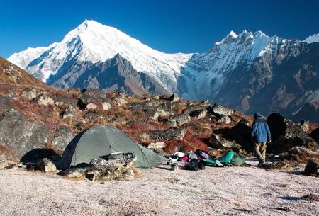 langtang peak and camping Stock Photo - 12741239