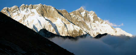 panoramatic: evening panoramatic view of Lhotse and Nuptse