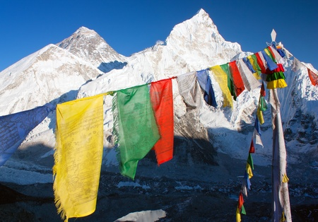 icefall: view of Everest with buddhist prayer flags from kala patthar  Stock Photo