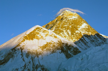 evening view of Everest with small cloud  photo