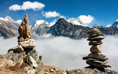 view of everest with stone mans from gokyo ri  Stock Photo