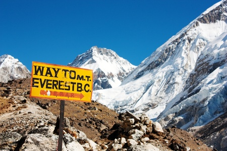 mount everest: Wegweiser Weg zum Everest BC und Himalaya-Panorama-Montage