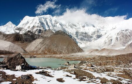 panoramatic: Stock Photo  view of cho oyu with lake and cloud Stock Photo