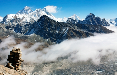 icefall: view from gokyo ri to everest  Stock Photo