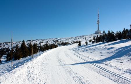 transmitter: ski trail on jesenik mountain and television transmitter praded - czech republic