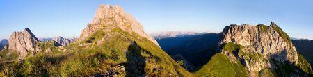 alpen: morning view from Karnische Alpen or Alpi Carniche - Mount Peralba and Pic Chiadenis - Sextener Dolomiten or Dolomiti di Sesto behind - Italy