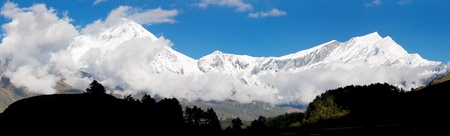 panoramatic: view from annapurna himal to dhaulagiri himal