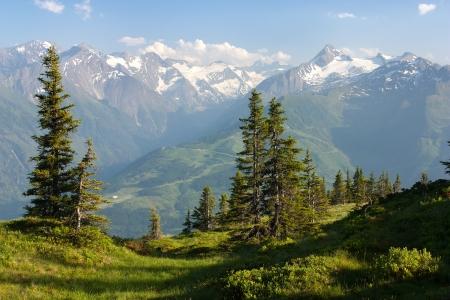 kitzsteinhorn: view from Kitzbuheler Alpen to Hohe Tauern with GrossGlockner, Kitzsteinhorn and Gross Wiesbachhorn - Austria Stock Photo