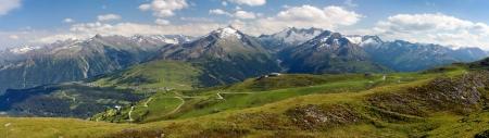 view from Kitzbuheler Alpen to gerlospass, Hohe Tauern and Zillertaler Alpen - Reichenspitze Wollbachspitze - Austria Stock Photo