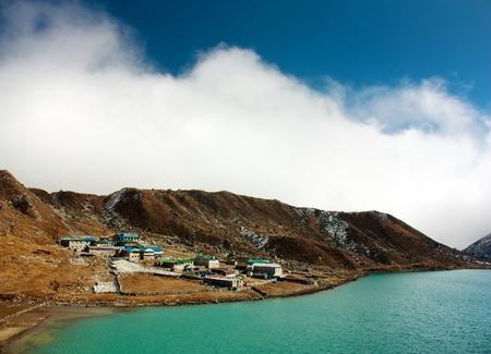 dudh pokhari lake, gokyo, Arakam tse peak and chola tse peak - nepal  Stock Photo