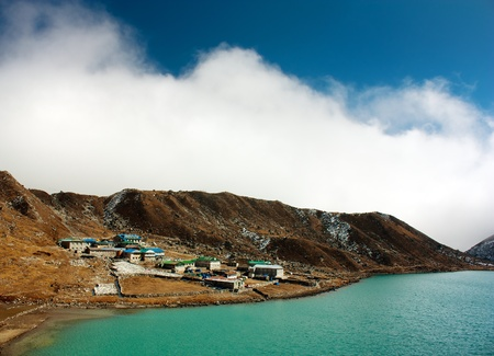 dudh pokhari lake, gokyo, Arakam tse peak and chola tse peak - nepal Stock Photo - 15305653
