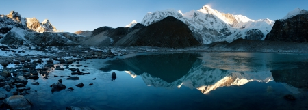 icefall: view of Cho Oyu mirroring in lake - Cho Oyu base camp - Everest trek - Nepal
