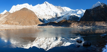 panoramatic: view of Cho Oyu mirroring in lake - Cho Oyu base camp - Everest trek - Nepal