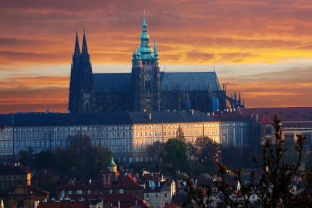 Colorful Prague gothic Castle prazsky hrad above the River\ Vltava in the morning, Czech Republic\