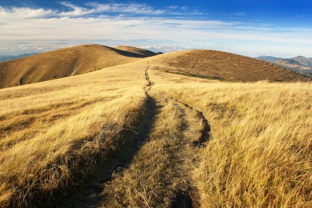 pastureland: early evening or late afternoon autumnal view from Velka Fatra mountains  Stock Photo