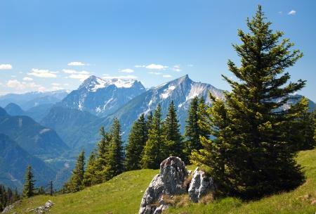 montane: blue mountains - view from Kaltmauer to blue mounts -Hhochschwab Alpen - Austria