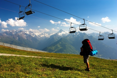 alpen: view from Kitzbuheler Alpen to Hohe Tauern with chairlift  Stock Photo