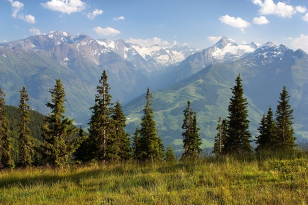 alpen: view from Kitzbuheler Alpen to Hohe Tauern with GrossGlockner, Kitzsteinhorn and Gross Wiesbachhorn - Austria  Stock Photo