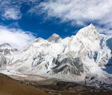 icefall: panoramic view of Mount Everest with beautiful sky and Khumbu Glacier - Khumbu valley - Nepal  Stock Photo
