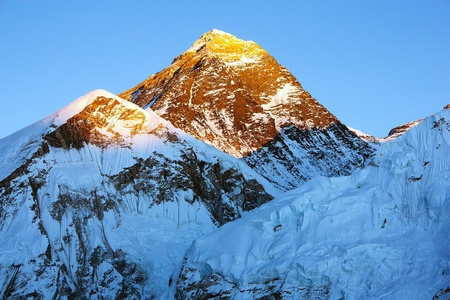 evening view of Everest from Kala Patthar - trek to Everest base camp - Nepal Stock Photo - 17161933