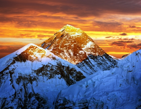 setting sun: Evening colored view of Everest from Kala Patthar - Nepal