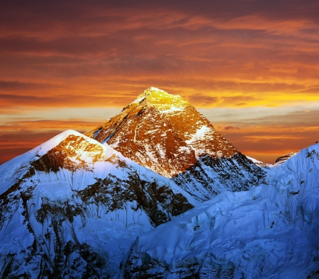 Evening colored view of Everest from Kala Patthar - Nepal Stock Photo - 17161910