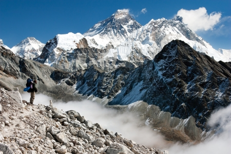 summit: view of Everest from gokyo with tourist on the way to Everest - Nepal