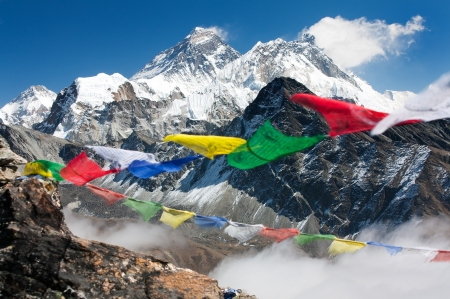 tibet: view of everest from gokyo ri with prayer flags - Nepal