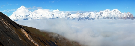 panoramatic: view from thorung la pass annapurna himal to dhaulagiri himal