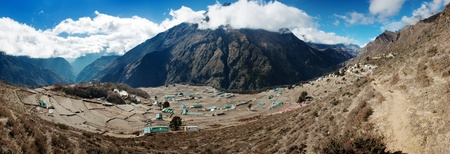 panoramatic: panoramatic view of Portse village - trek to Everest base camp - Nepal