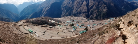 panoramatic view of Portse village - trek to Everest base camp - Nepal  photo