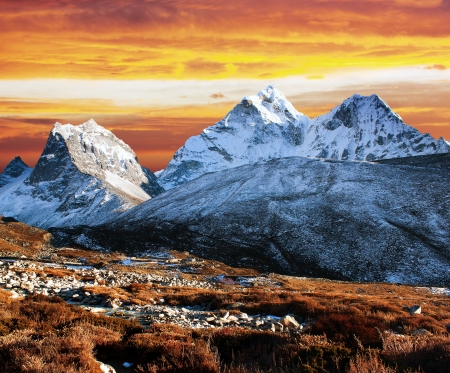 evening view of Ama Dablam - way to everest base camp - Nepal Stock Photo - 17604748