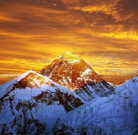 Evening colored view of Everest from Kala Patthar - Nepal  photo