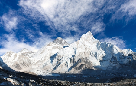 everest: panoramic view of Mount Everest with beautiful sky and Khumbu Glacier
