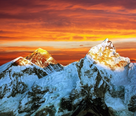 Evening colored view of Everest from Kala Patthar - Nepal  Stock Photo - 18654657
