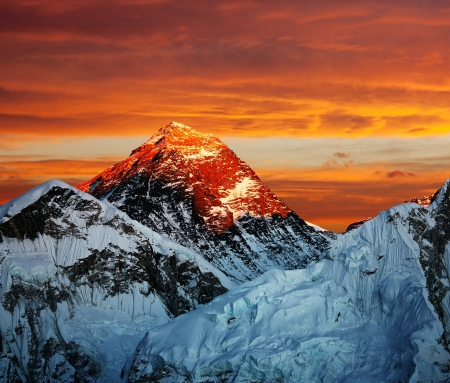 Evening colored view of Everest from Kala Patthar - Nepal Stock Photo - 18654327