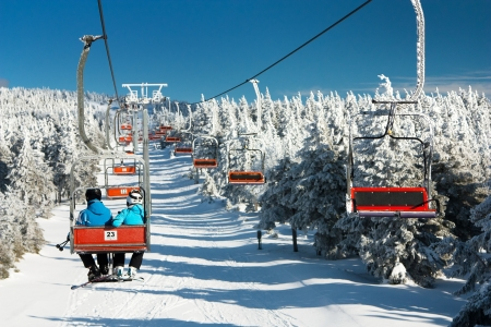 chair lift: chair lift on mountain for downhill skiers  Stock Photo