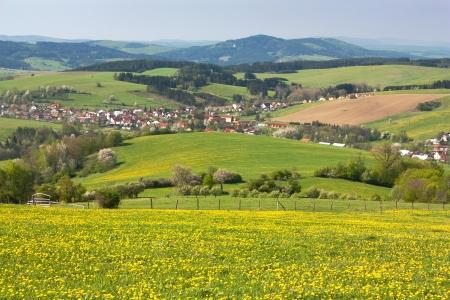 grassfield: panoramic view of Horni Lidec village - Carpathiam mountains - Czech Republic  Stock Photo