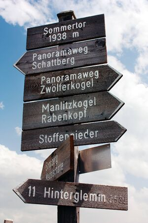 tourist guidepost - dolomiti italy  photo