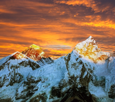 Evening colored view of Everest from Kala Patthar - Nepal Stock Photo - 18953865