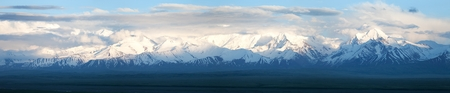 upland: Panoramic view of Pamir mountain in Zaalay valley, Kyrgyzstan Stock Photo