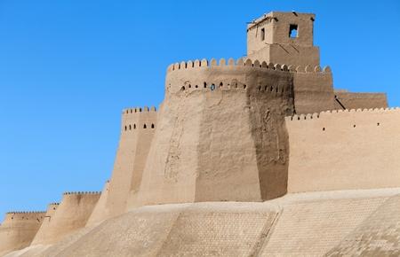 parapet: wall of Itchan Kala in Khiva, Uzbekistan