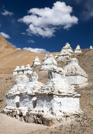 Stupas around Peh in Ladakh, India  photo