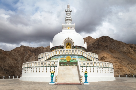 Tall Shanti Stupa near Leh - Jammu and Kashmir - Ladakh - India photo