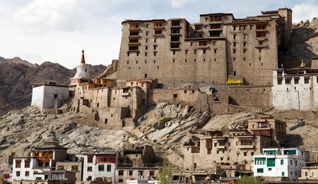 tibetan house: Leh Palace in Ladakh, India  Stock Photo