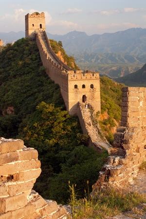parapet wall: Evening Great Wall - China  Stock Photo