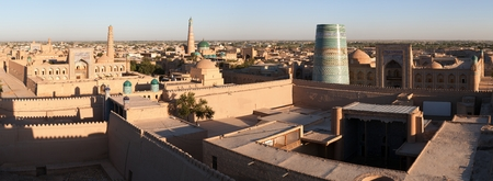 Panoramic view of Khiva  Chiva, Heva, Xiva, Chiwa, Khiveh  - Xorazm Province - Uzbekistan - Town on the silk road photo
