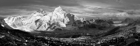 evening black and white panoramic view of Everest and Nuptse from Kala Patthar - trekking to Everest base camp - Nepal  Stock Photo