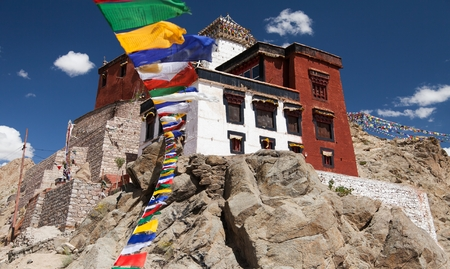 Namgyal Tsemo Gompa with prayer flags - Leh - Ladakh - Jammu and Kashmir - India photo