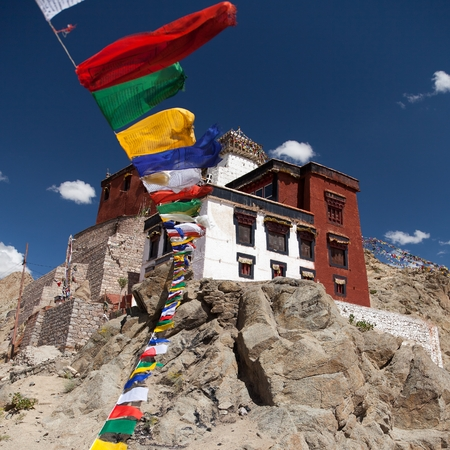 gompa: Namgyal Tsemo Gompa with prayer flags - Leh - Ladakh - Jammu and Kashmir - India